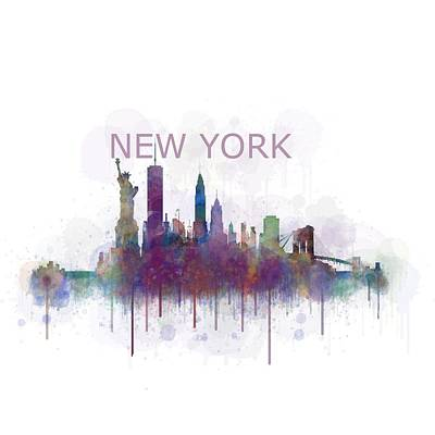 Ny New York City Skyline V4 Watercolor Poster