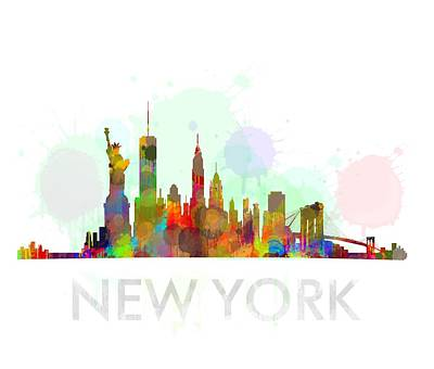 Ny-new York Skyline Hq Watercolor Poster by HQ Photo