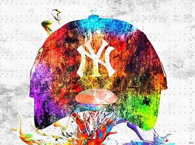 Ny Yankees Cap Grunge Poster