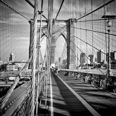 Nyc Brooklyn Bridge Monochrome Poster by Melanie Viola