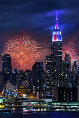 Poster featuring the photograph Nyc Fourth Of July Fireworks  by Susan Candelario
