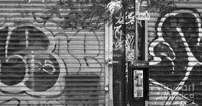 Nyc Graffiti Blk N Wht Poster by Chuck Kuhn