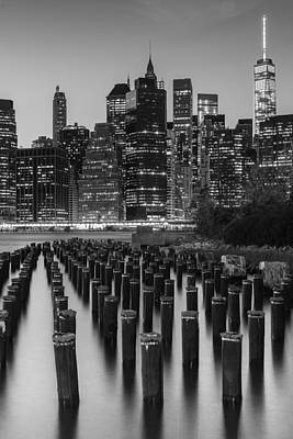 Poster featuring the photograph Nyc Skyline Bw by Laura Fasulo