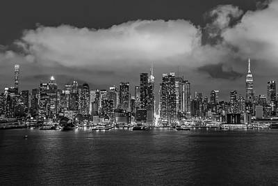 Nyc Skyline At Night Bw Poster by Susan Candelario