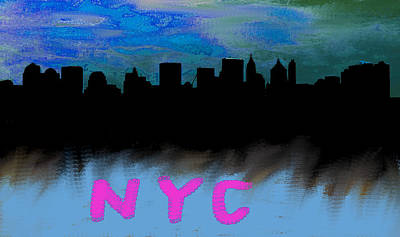 Nyc Skyline Blue  Poster