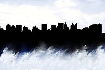 Nyc Skyline Monochrome 1 Poster by Enki Art