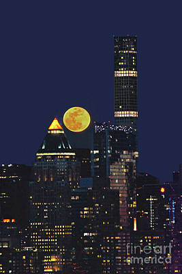 Nyc Skyscrapers And Full Moon Poster by Regina Geoghan