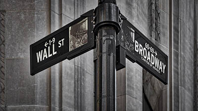 Nyc Wall Street And Broadway Sign Poster by Susan Candelario