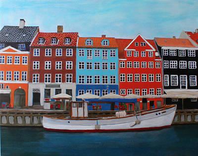 Poster featuring the painting Nyhavn Copenhagen by Deborah Boyd