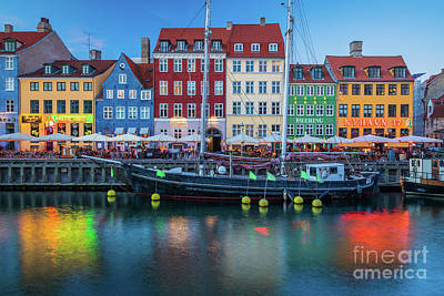 Nyhavn Evening Poster by Inge Johnsson