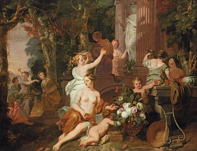 Nymphs And Bacchantes Paying Homage At The Temple Of Flora  Poster