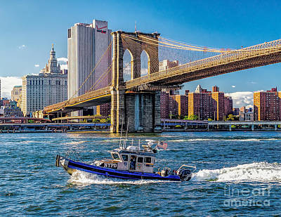 Nypd On East River Poster by Nick Zelinsky