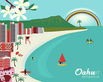 Oahu Hawaii Horizontal Scene Poster