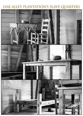 Oak Alley Slave Quarters - Charcoal Triptych Poster by Kathleen K Parker