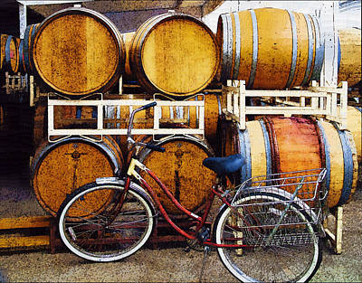 Oak Barrels And Bicycle Poster