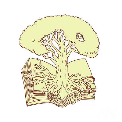 Oak Tree Rooted On Book Drawing Poster by Aloysius Patrimonio