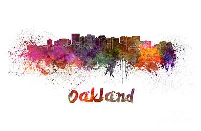 Oakland Skyline In Watercolor Poster by Pablo Romero