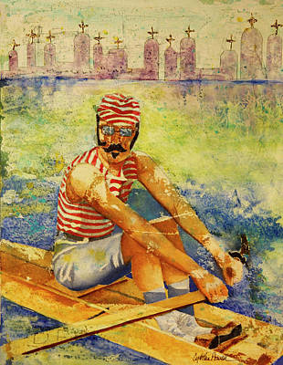 Poster featuring the painting Oarsman by Cynthia Powell