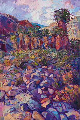 Poster featuring the painting Oasis Boulders by Erin Hanson