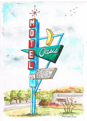 Oasis Motel In Route 66, Tulsa, Texas Poster