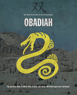 Obadiah Books Of The Bible Series Old Testament Minimal Poster Art Number 31 Poster