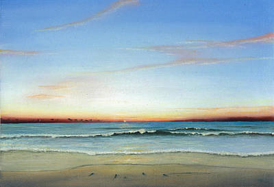 Poster featuring the painting Obx Sunrise by Albert Puskaric