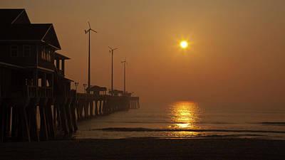 Ocean Dawn Wind Turbines Poster