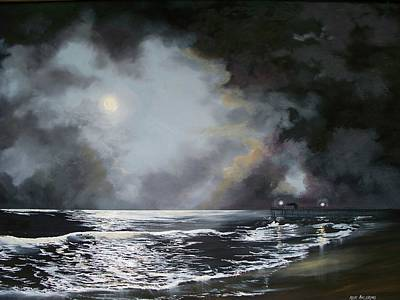 Poster featuring the painting ocean grove moon II by Ken Ahlering
