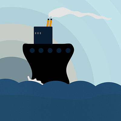 Ocean Liner Poster by Frank Tschakert