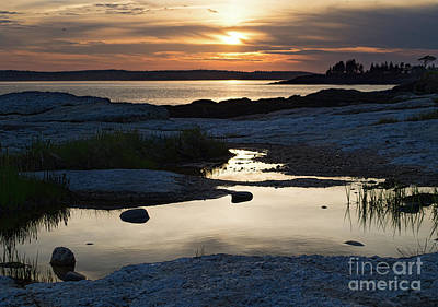 Ocean Point Sunset In East Boothbay Maine  -23091-23093 Poster