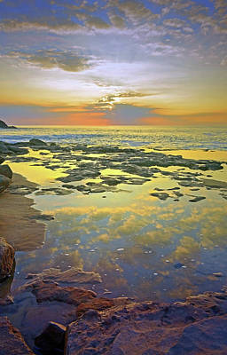 Poster featuring the photograph Ocean Puddles At Sunset On Molokai by Tara Turner