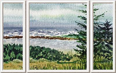 Ocean Shore Window View Poster by Irina Sztukowski