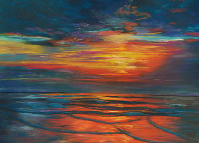 Poster featuring the pastel Ocean Sunrise by Karen Kennedy Chatham
