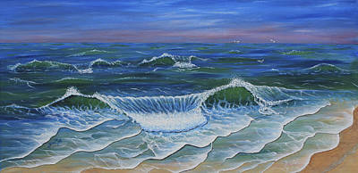 Ocean Waves Dance At Dawn Original Acrylic Painting Poster by Georgeta Blanaru
