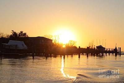 Oceanside Ny Spring Sunset After Fishing Poster by John Telfer