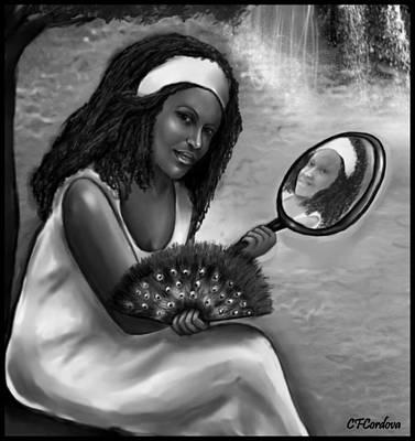 Ochun -black And White Poster by Carmen Cordova