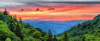 Oconaluftee Valley Sunrise Poster by Stephen Stookey