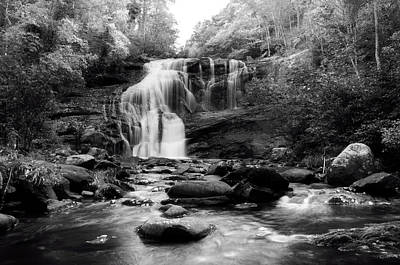 October At Bald River Falls In Black And White Poster