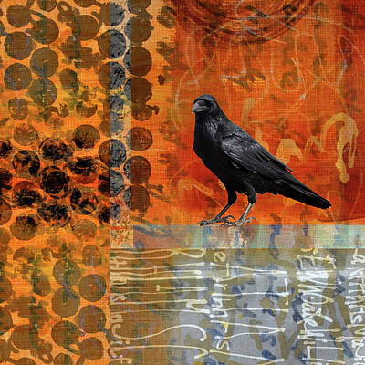 Poster featuring the painting October Raven by Nancy Merkle