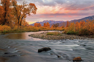 Poster featuring the photograph October Sunrise At The Provo River. by Johnny Adolphson