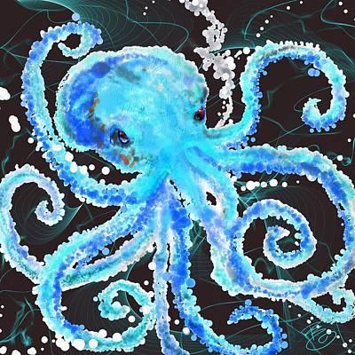 Octopus Bubbles Poster by Debra Baldwin