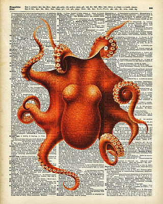 Octopus Vintage Illustration On A Book Page Poster