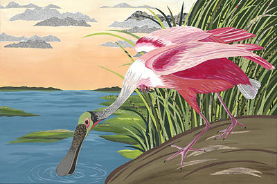 Ode To Audubon - Roseate Spoonbill Poster by Jennifer Peck