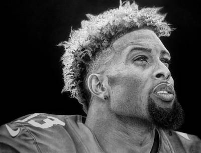 Odell Beckham Jr. Drawing Poster by Angelee Borrero