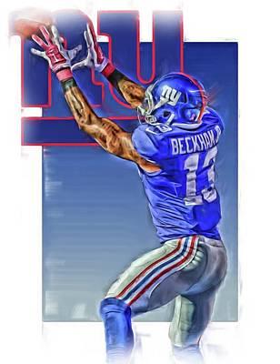 Odell Beckham Jr New York Giants Oil Art 3 Poster by Joe Hamilton