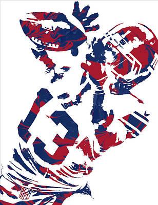 Odell Beckham Jr New York Giants Pixel Art 5 Poster by Joe Hamilton