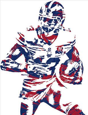 Odell Beckham Jr New York Giants Pixel Art 6 Poster by Joe Hamilton