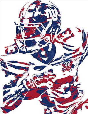Odell Beckham Jr New York Giants Pixel Art 7 Poster by Joe Hamilton