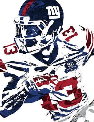 Odell Beckham Jr New York Giants Pixel Art Poster by Joe Hamilton