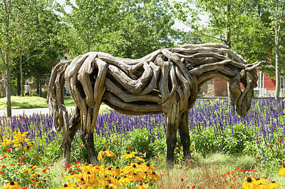 Odyssey The Horse Sculpture Made Of Driftwood By Heather Jansch. Poster